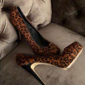 Leopard pony hair heels